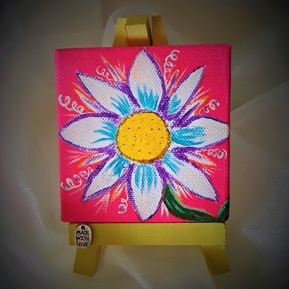 "BeaslePunk Art Original Other - Beautiful Burst - mini canvas original 3"" x 3"""